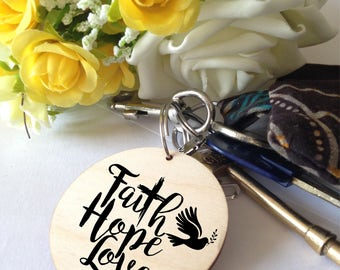 Faith, Hope, Love pendant/keyring/bag charm.