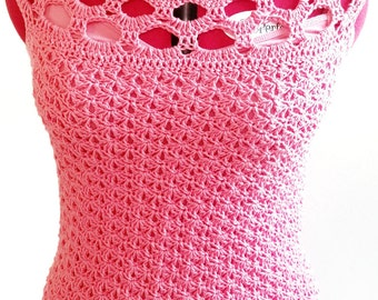Crochet Pattern, Rosalba Spring Sleeveless Blouse, Top, Shirt, Perfect for warm weather, summer clothes, yarn and hook