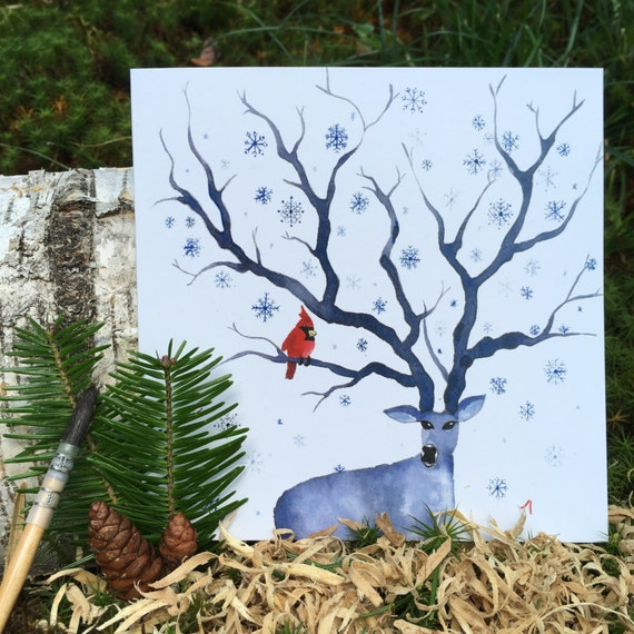 "2 greeting cards ""4 seasons - winter"" handmade watercolor * 2 Greetings cards ""4 Seasons - Winter"" handmade watercolor"
