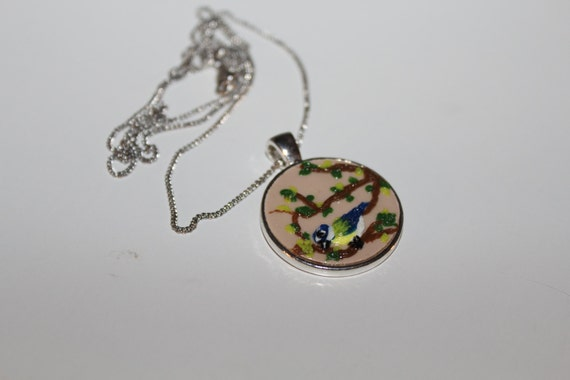 Polymer Clay Bird On a Branch Statement Pendant Necklace - 2017 Fashion Trend