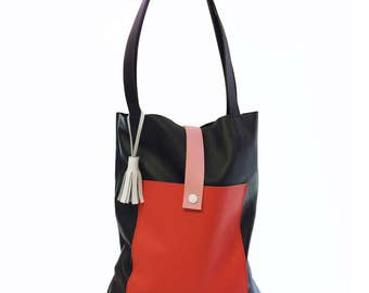Pony Motel - Leather Tote Bag - Red & Pink