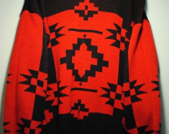 Red And Black Abstract Print Sweater