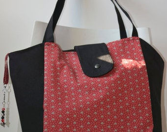 Handbag in black and Red cotton canvas - Ref: S08