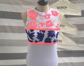 Floral sequin Halter tops back neck