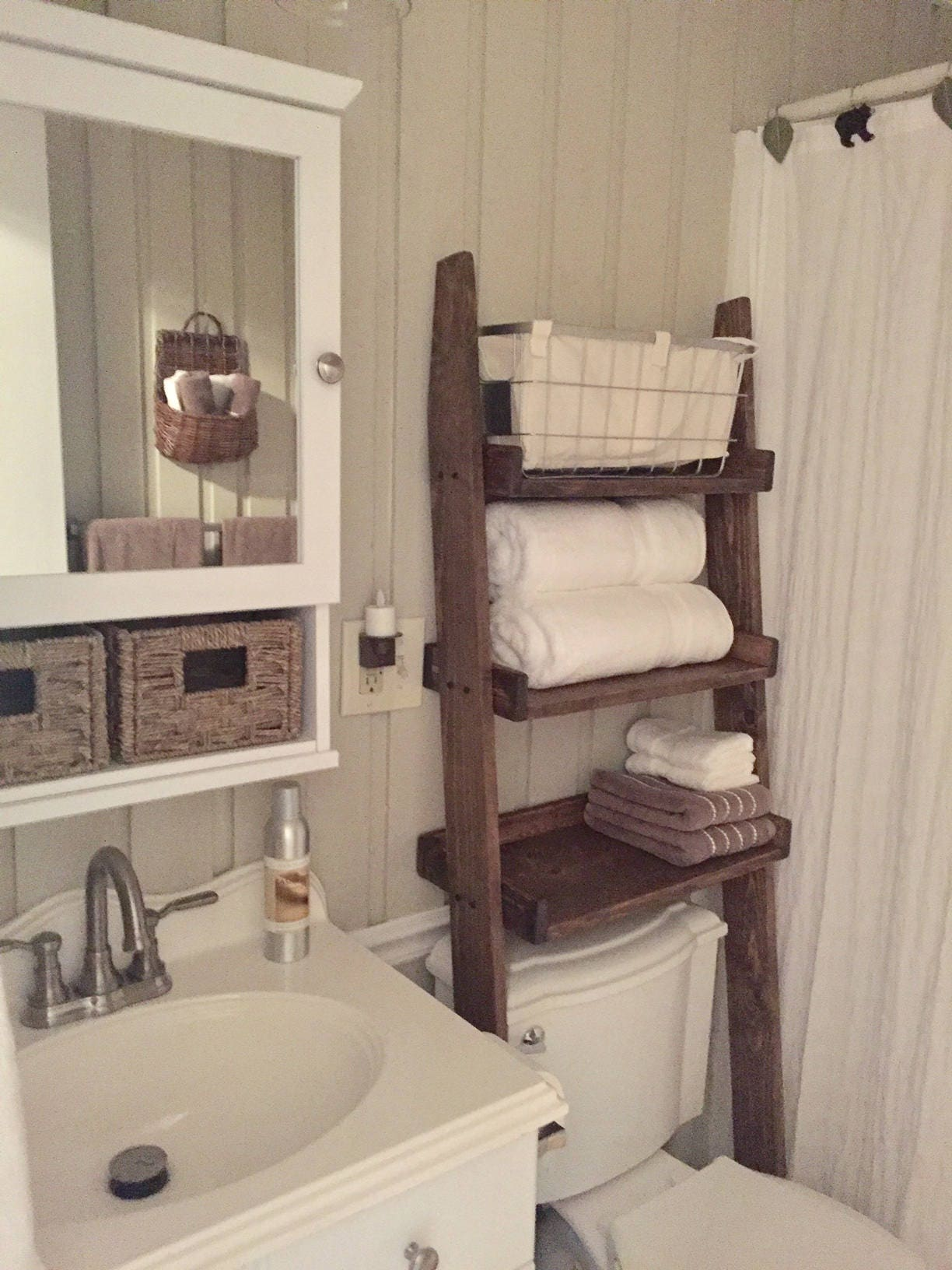 Over The Toilet Ladder Shelf Toilet Topper Bathroom Storage