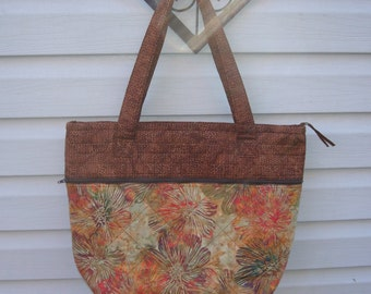 Autumn Batiks Zippered Tote/Brown & Olive Batiks/Overnight Bag with Zippered Closure/Quilted Inside and Out/Sturdy Construction