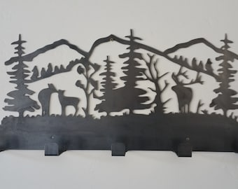 Deer Elk Coat Rack, wildlife robe coat rack, wildlife coat rack, deer coat rack, elk coat rack, metal coat rack, coat rack