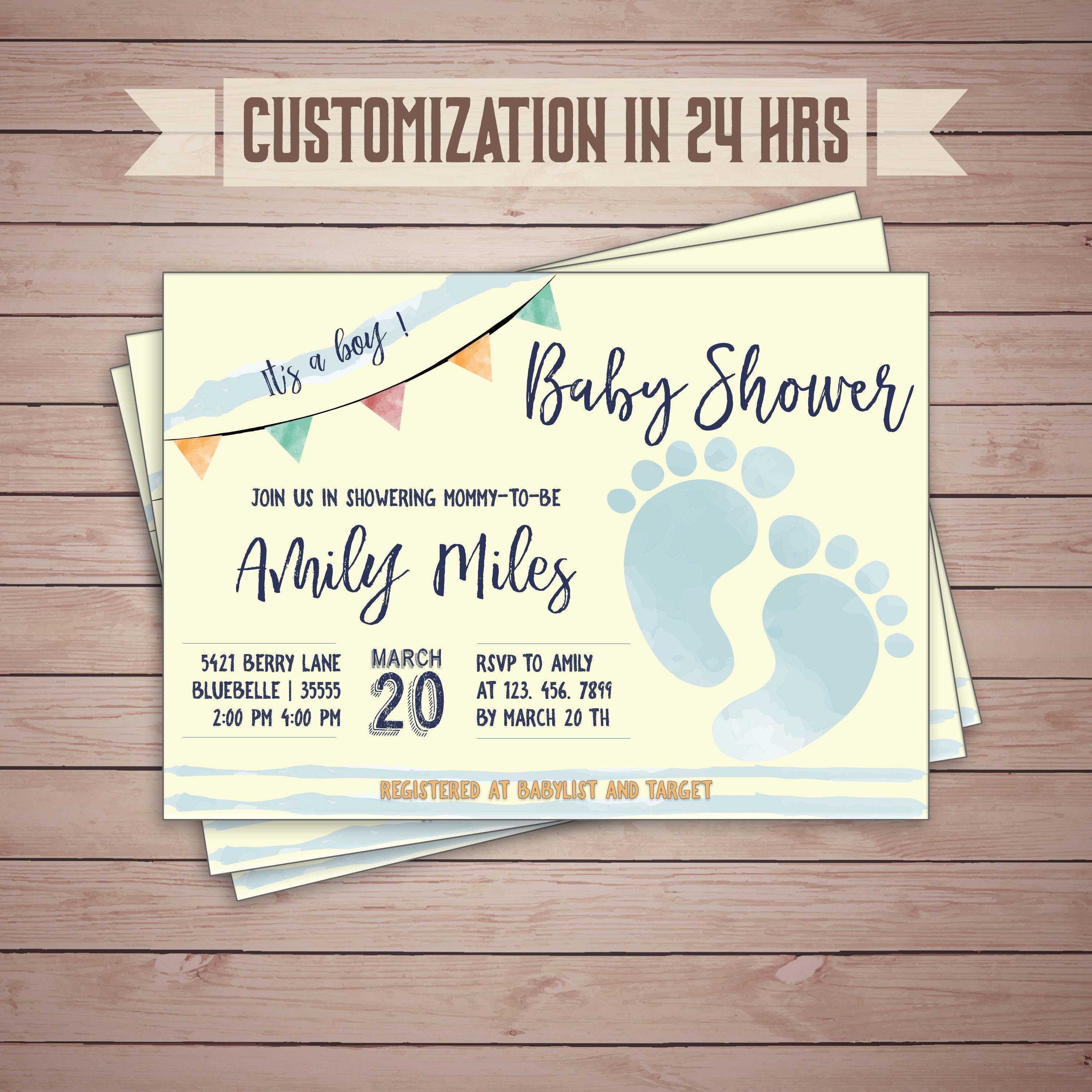 Custom footprints baby shower invitations baby feet shower custom footprints baby shower invitations baby feet shower watercolor blue and yellow baby filmwisefo