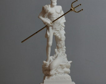 Poseidon Greek God of the Sea Neptune Statue Sculpture Figurine Handmade 6.5in - 16.5cm **Free Shipping & Free Tracking Number**