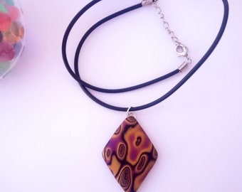 Diamond pendant necklace_unique handmade mokume gane polymer clay jewellery