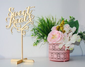 Sweet Treats.Freestanding Table Sign for Wedding.Wedding Dessert Table Sign. Wood Wedding  Sign.