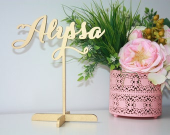 Name Place Setting.Place Name With Base.Wedding Place Setting.Gold Place Name.