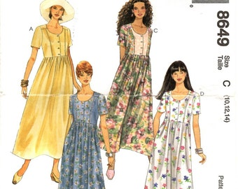 Dress PATTERN for Misses size 10 12 14 Loose fitting gathered waist button front bodice round neckline short sleeves McCall's 8649