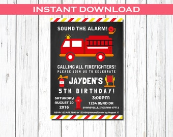 Firefighter Invitation, Fireman Party Invitation, Firefighter Birthday Party,  Firefighter Birthday, Firetruck Birthday Invite,  Fireman