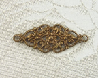 Vintage French Floral Connectors (2 Pc)2 loop Brass Floral jewelry Connectors/Vintage Brass connectors/Vintage French Floral Connector/B34