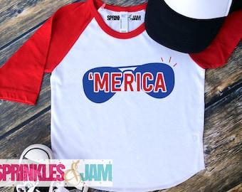 America Shirt, 4th of July Shirt, Merica, Kids 4th of July Shirt, Happy 4th of July, Raglan, Cute Kids Clothes, Boys 4th of July Shirt