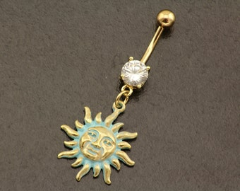 Boho Sun Belly Button Ring. Gold Belly Bar. Boho Hippie Belly Ring Piercing. Navel Ring Jewellery. Body Jewelry. Bohemian Navel Piercing.