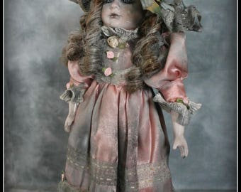 Victoriana- Gothic Ooak Artist Doll - Victorian style ghost child - Hand customised and upcycled
