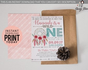 Instant Download: Wild OneInvitation | Birthday Invitation | Instant Download | Edit it yourself! Print at home! | WildOne001