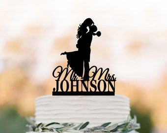 personalized Wedding Cake topper with mr and mrs, bride and groom silhouette cake topper, unique custom cake topper for wedding funny
