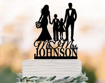 family Wedding Cake topper with son and doughter, bride and groom with boy and girl wedding cake toppers,