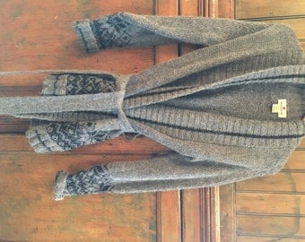 Grey Woolrich Cowichan Style Wool Knit Sweater with Tie (M/L)