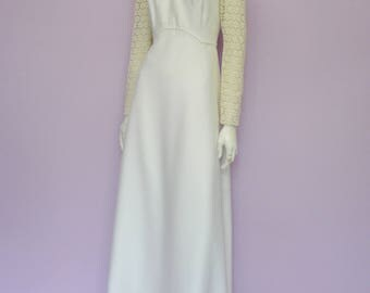 Vintage romantic 60's wedding dress // flower lace // cotton // Eur 36 / US 6 / UK 8