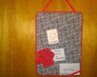 Fabric Covered Cork Board Note holder and a hair clip/brooch. Black and White with Red