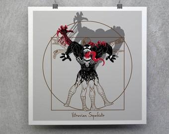 Vitruvian Symbiote T-shirt / Free Shipping worldwide / Spider-Man Tee  / Venom / Carnage / Comic /Vitruvian Man /  Leonardo da Vinci