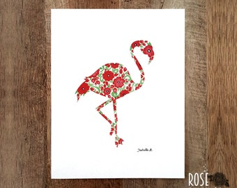 Poster pink flamingo, flowers