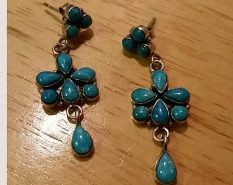 Sleeping Beauty Turquoise Sterling Silver Raindrop Native American Indian Earrings Signed