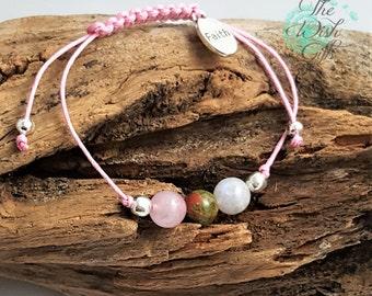 Handmade Fertility Gemstone Wish Bracelet, Moonstone, Unakite and Rose Quartz, Crystal Healing - TTC IVF Gift