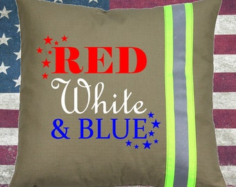 Firefighter TAN Pillow - Red, White & Blue