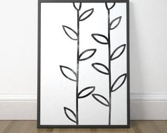 Modern Plant Art, Gallery Wall Decor, Black and White Art, Abstract Minimalist Print, Scandinavian Art, Instant Download, Digital Print