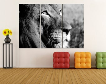 Black and white lion canvas print for living room, lion wall art print extra large wall art, lion canvas art, modern art 9s57