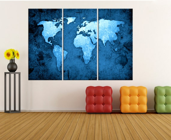Large wall art for living room blue world map canvas art like this item sciox Images