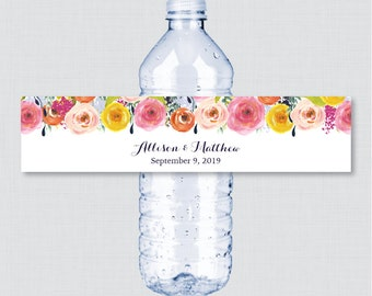 Printable OR Printed Wedding Water Bottle Labels - Floral, Custom Water Bottle Labels - Personalized Bottle Labels Colorful Flowers 0003-B