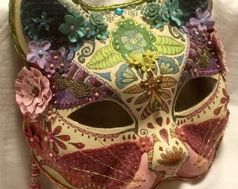 Pretty kitty jewelled cat masquerade mask - hand painted and embellished, a 'one of a kind' piece.