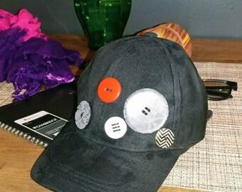 Black Baseball Hat with Buttons , Summer Hat,  Women's Hat, Baseball Hat,