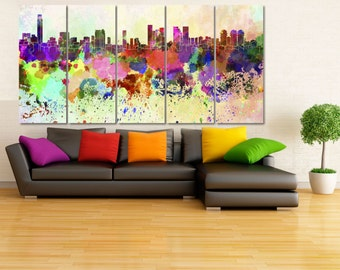 Cityscape Art Canvas Print, Watercolor Cityscape Painting, Large City Wall Art, New York City, Bright Cityscape Canvas Art, City Decal LC033