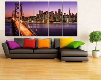 San Francisco Canvas Print, Large Canvas Art, Cityscape Wall Art, San Francisco Poster, Golden Gate Bridge Wall Art, Night Cityscape LC034