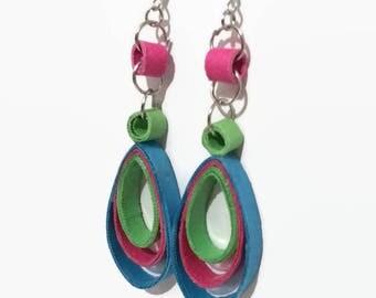 Colorful Earrings, Paper Earrings, Quilling Earrings,Handmade Earrings, Unique Earrings