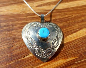 Sterling Silver and Turquoise Heart Concho