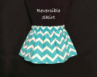 Baby Girls Chevron Reversible Skirt; Aqua Chevron & Paisley Print Skirt; Baby Girls Skirt Size 6-12 Months; Baby's Skirt; Infants Skirt