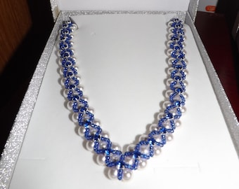 Necklace, Blue - Swarovski Pearl and Crystal