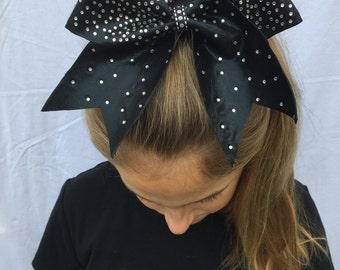 Black Cheer Bow Covered in Rhinestones
