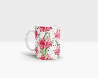 Flowers and Dots Mug. 11oz Ceramic Mug.