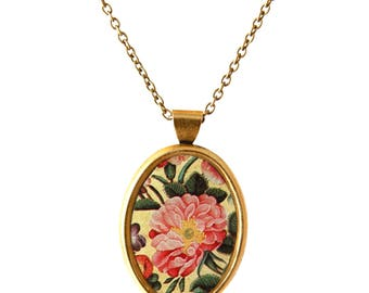 Handmade Pendant Necklace, Flowers, Floral