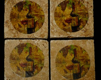 Wine Bottle Design Coasters