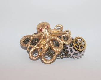 Steampunk Octopus Barrette
